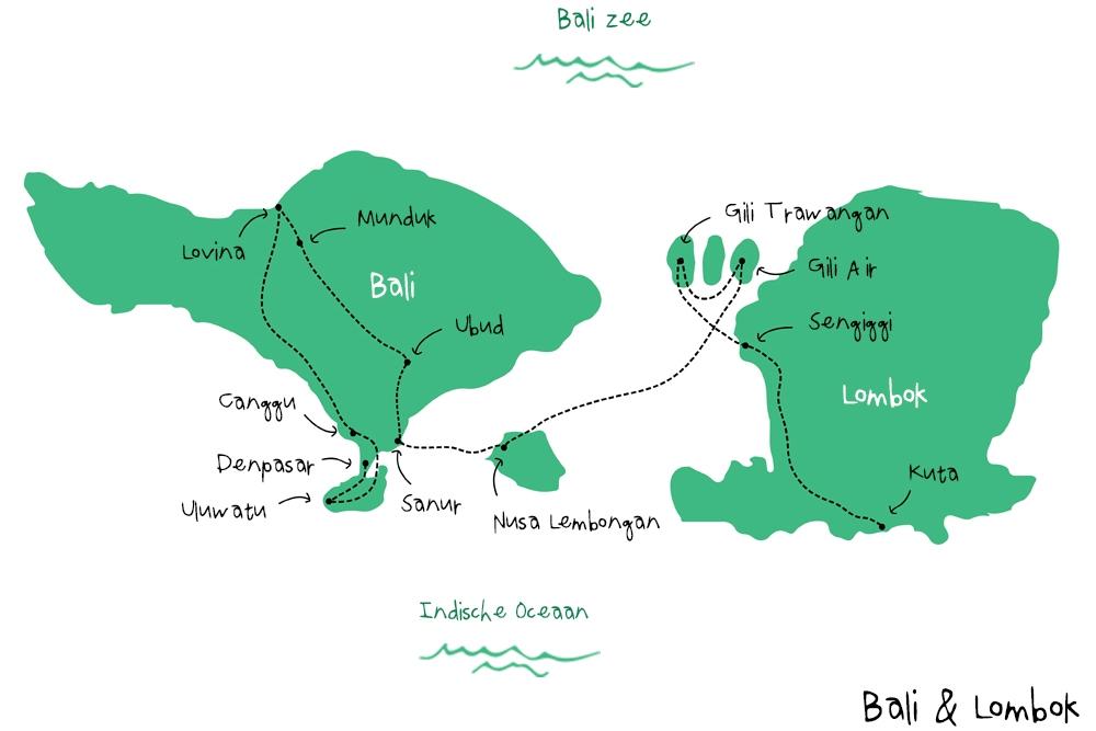 Route Bali en Lombok