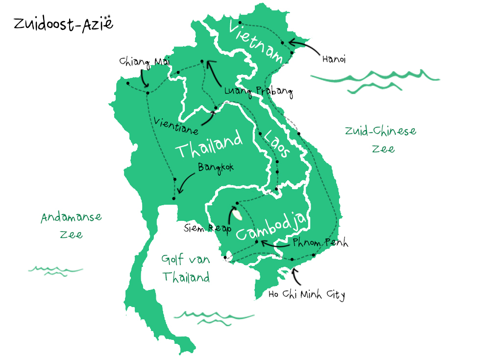 Backpack route Zuidoost-Azië