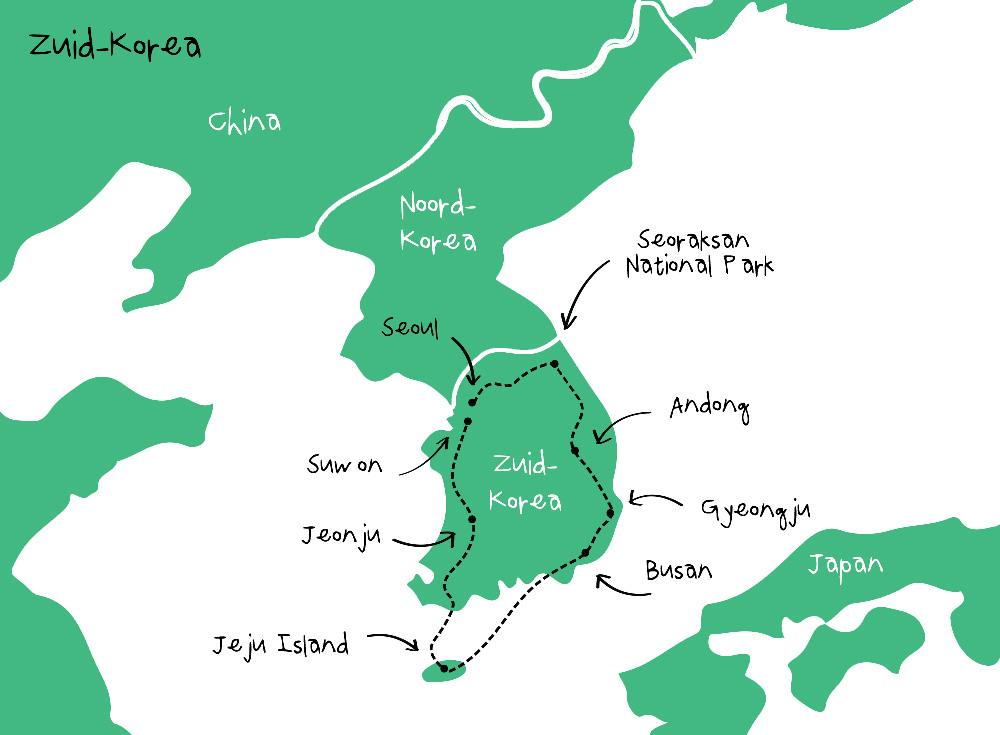 Route Zuid-Korea